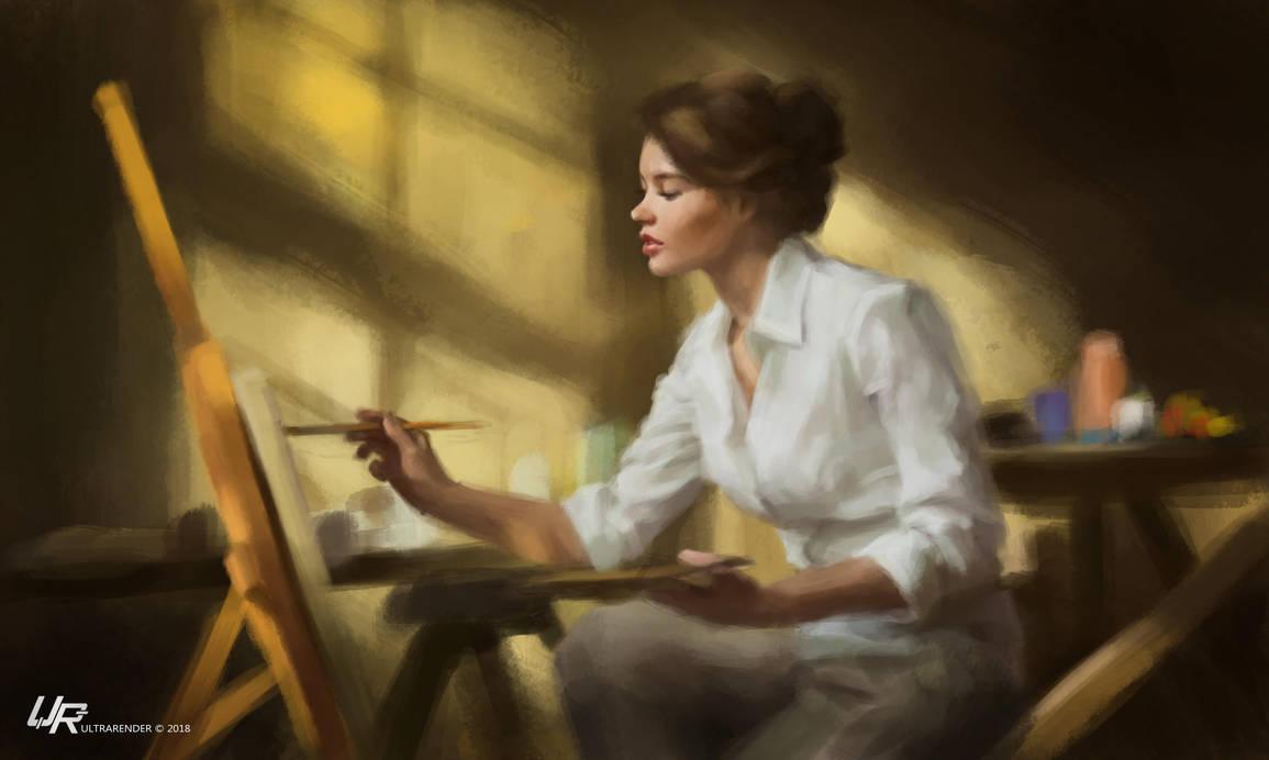 Artist girl by Ultrarender