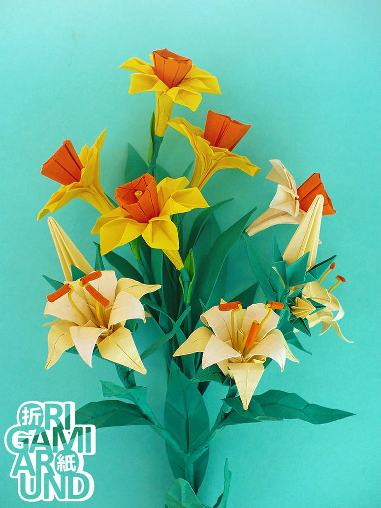 Origami Flower Arrangement Narcissus And Lily By Origamiaround On