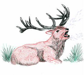 Red Deer Roar by The-Darkwolf