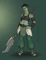 Kaida San, Half-Orc Barbarian-Druid by Pasiphilo
