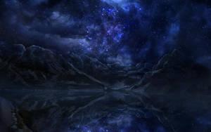 Night Sky Over Lake by igreeny