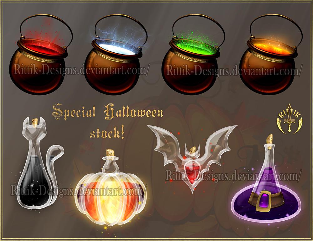 Halloween potions (downloadable stock) by Rittik-Designs