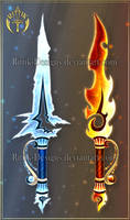 (CLOSED) Ice and Fire daggers by Rittik-Designs