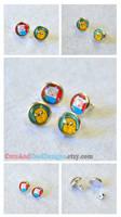 Adventure Time Finn and Jake Button Earrings by artshell