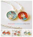 Adventure Time Fionna and Cake friendship necklace by artshell