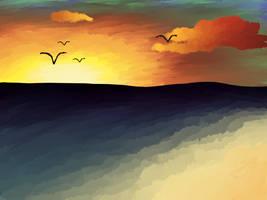 Sunset Beach by FlamingoBucket