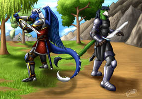 Shirai and Knight ready to fight by Symbolhero by RazenHashikado