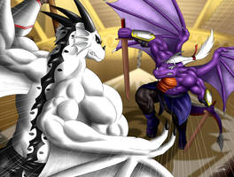 Jazen and Tyrus, serious sparring by Symbolhero by RazenHashikado