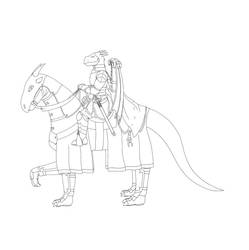 Devil Dragon Mounted Line Art by RazenHashikado