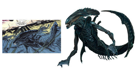 Swimmer Xenomorph by Risen-From-The-Ruins