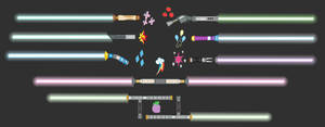 Council of Harmony + Spike and Sunset Lightsabers by Amante56