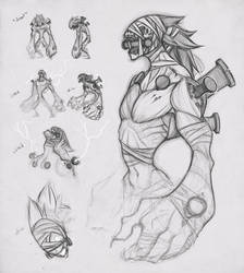 FF7: Vincent Death Gigas Form Design Sketches by sambees