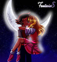 Chris X Helen (Kiss in Cresent Moon) by FantasiaSaver