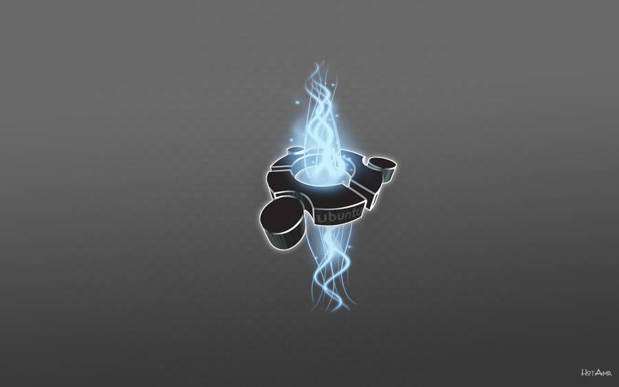 3d ubuntu with blue swirls by hotamr