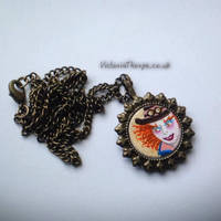 The Mad Hatter - Miniature Painting Necklace by VictoriaThorpe