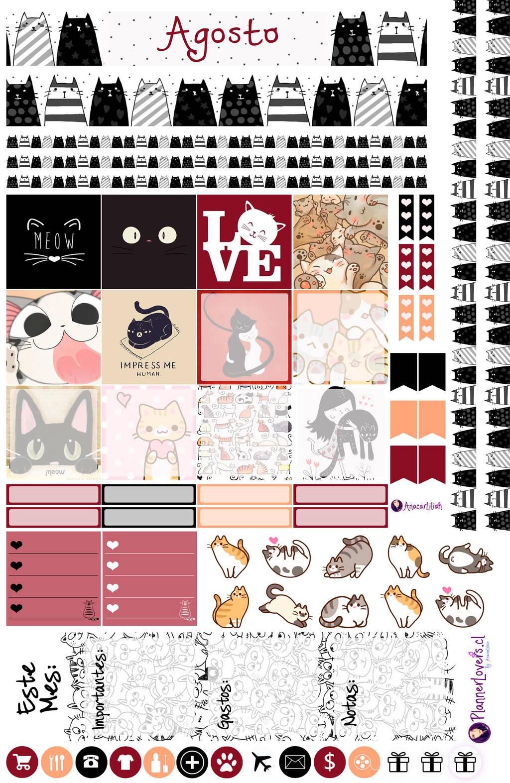 AGOSTO Mes de Los Gatos - Stickers by AnacarLilian