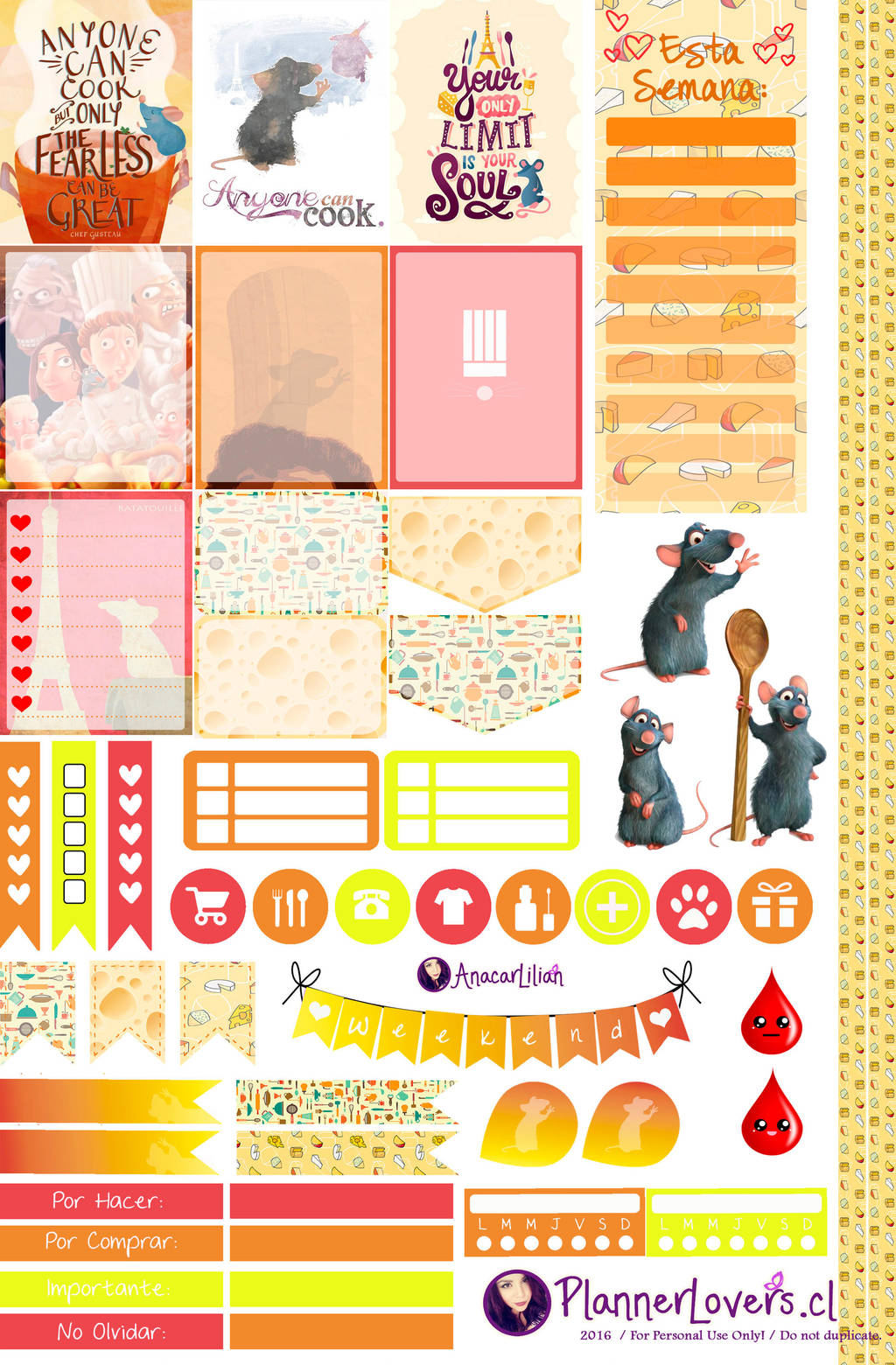 Ratatouille - Stickers for Planners by AnacarLilian