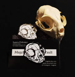 Limited Edition Hard Enamel Domestic Cat Skull Lap by Magelet