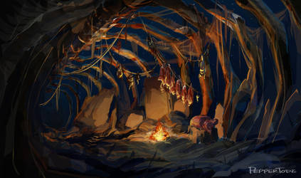 Troll Cave - Night by PEPPERTODE