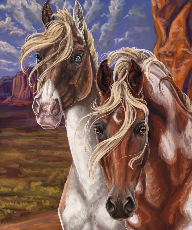 Portrait of two horses by WhiteLiesArt