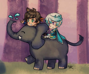 Sorey, Mikleo and Elephant by ChiuuChiuu