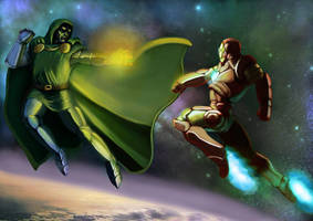 Iron Man vs Dr Doom by outlawzz83