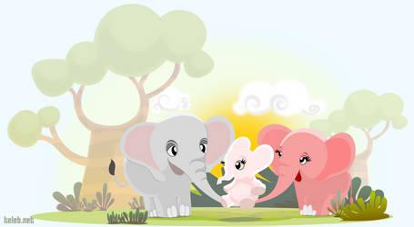 Happy elephant family by ahmedtelb