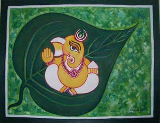Ganesha on Leaf by manjulak