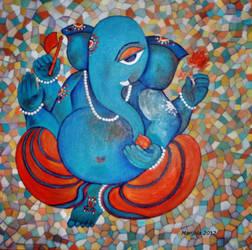 Ganesha on Tiles by manjulak