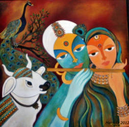 Radha Krishna and Flute by manjulak