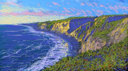 Monet-like study of Ocean Cliffs by jimdwyrick
