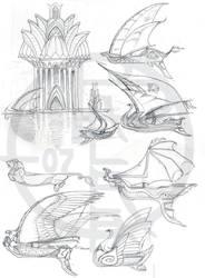 Sailship concept sketches by balaa