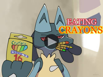 Lucario eating crayons by boke-0327