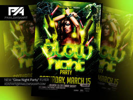 Glow Night Party Flyer Template by pawlowskiart