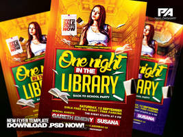 One Night in the Library - Back to School Flyer by pawlowskiart