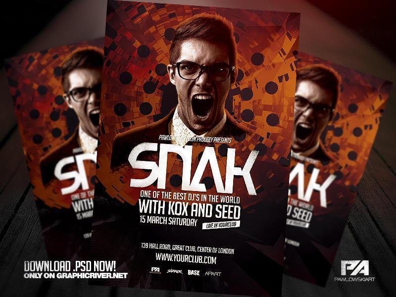 DJ Album Promo Flyer Template by pawlowskiart