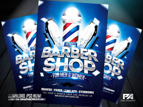 Barber Shop Flyer Template by pawlowskiart