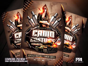 Camo Costume Party PSD Flyer Template by pawlowskiart