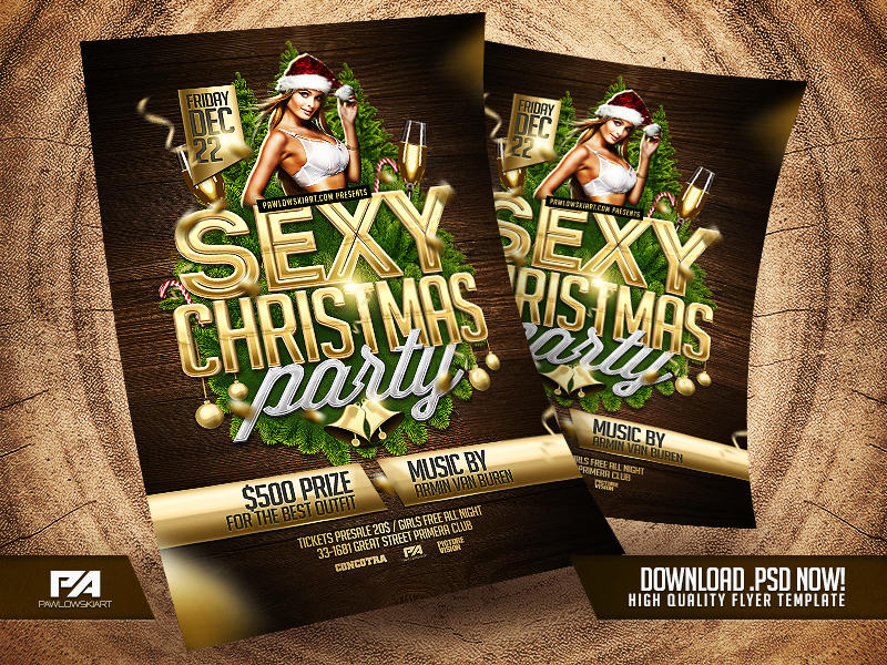 Sexy Christmas Party Flyer Template by pawlowskiart