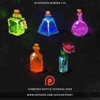 Isometric Bottle   Sketches for Patreon Reward#10 by Sephiroth-Art