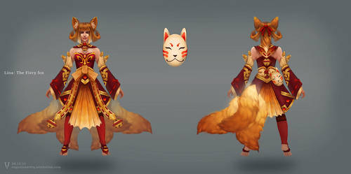 Lina - Kizune Dota 2 concept Art by vertry