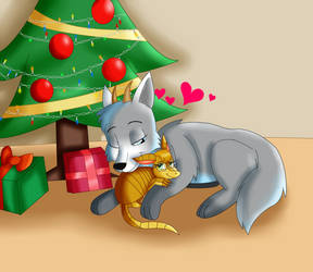 GiftArt - Cuddling By the Tree - Christmas 2018 by KendraEevee