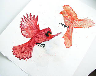 One and Only - Zentangle - Cardinals - Love by MayhemHere