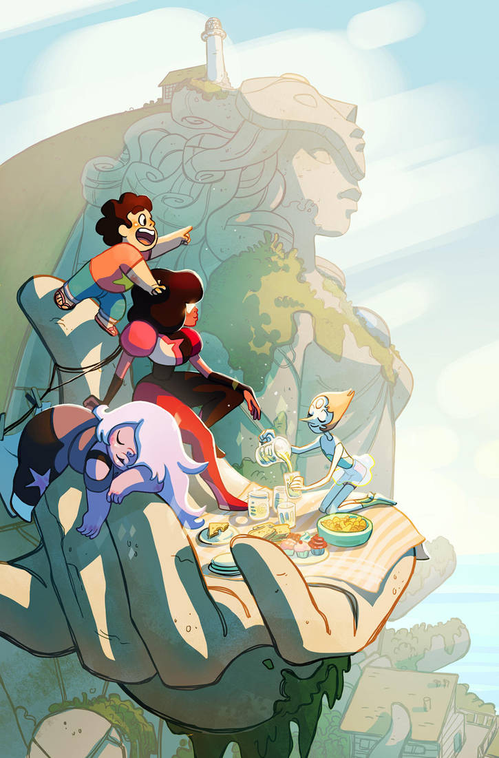 I was commissioned to do a Steven Universe comic cover a while back, this was the final illustration Process posted on my tumblr: bridgioto.tumblr.com/post/9402…