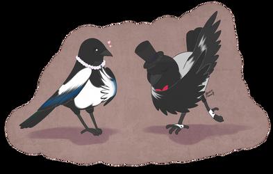 Miss Magpie and mr Crow by ReachFarHigh