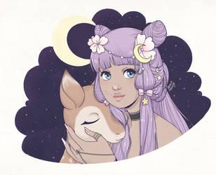Deer, Stars and Moon in color by ReachFarHigh