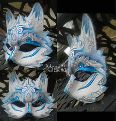 The Frosted Howling - Leather Wolf Mask by Draikairion