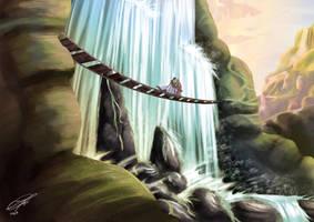 FFTactics Ovelia Waterfall by danielbogni
