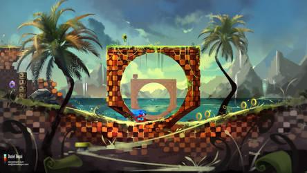 Green Hill - Sonic the Hedgehog - Fanart by danielbogni