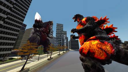 Burning Godzilla vs Space Godzilla by GhostR3x1